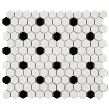 "<strong>EliteTile</strong> Retro 12"" x 10-1/4"" Glazed Porcelain Hexagon Mosaic in White with Black Dot"