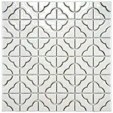 "Castle 11-3/4"" x 11-3/4"" Porcelain Mosaic in Glossy Off-White"