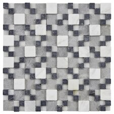 "Grizelda Gaodi 12"" x 12"" Natural Stone Mosaic in Charcoal"