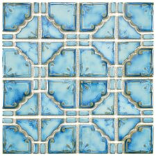 Moonlight Random Sized Porcelain Glazed Mosaic in Diva Blue