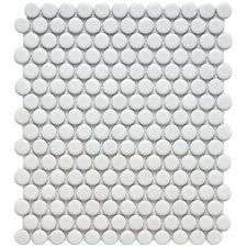 "Retro 3/4"" x 3/4"" Glazed Porcelain Penni Mosaic in Matte White"