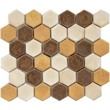 "Heritage 12"" x 10-3/4"" Ceramic Hex Mosaic in Goldstone"