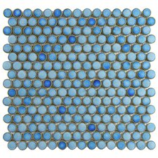 "<strong>EliteTile</strong> Penny 12-1/4"" x 12"" Glazed Porcelain Mosaic in Marine"