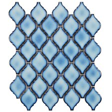 "Arabesque 2-3/4"" x 1-7/8"" Porcelain Glazed Mosaic in Aella (Set of 10)"