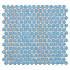 "Penny  3/4"" x 3/4"" Porcelain Glazed and Glossy Mosaic in Light Blue"