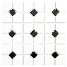 "Cambridge 11-1/2"" x 11-1/2"" Glazed Porcelain Mosaic with Black Dot"