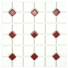 "Cambridge 11-1/2"" x 11-1/2"" Glazed Porcelain Mosaic with Maroon Dot"