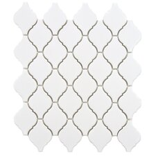 "<strong>EliteTile</strong> Arabesque 9.88"" x 11.13"" Porcelain Mosaic Tile in Matte White"