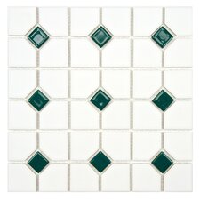 "Cambridge 11-1/2"" x 11-1/2"" Glazed Porcelain Mosaic with Green Dot"