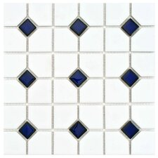 "Cambridge 11-1/2"" x 11-1/2"" Glazed Porcelain Mosaic with Cobalt Dot"