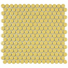 "<strong>EliteTile</strong> Penny 12-1/4"" x 12"" Glazed Porcelain Mosaic in Vintage Yellow"