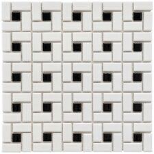 Retro Random Sized Glazed Porcelain Spiral Mosaic in White and Black