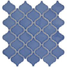 "Beacon 12-1/2"" x 12-1/2"" Glazed Porcelain Mosaic in Blue"