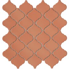 "Beacon 12-1/2"" x 12-1/2"" Glazed Porcelain Mosaic in Terra Cotta"