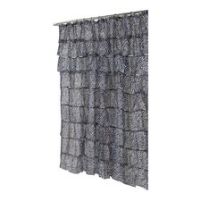 <strong>Carnation Home Fashions</strong> Carmen Zebra Print Crushed Voile Ruffle Tier Polyester Fabric Shower Curtain