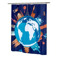 <strong>Carnation Home Fashions</strong> Our World Polyester Shower Curtain