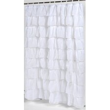 <strong>Carnation Home Fashions</strong> Carmen Crushed Voile Ruffled Tier Polyester Fabric Shower Curtain