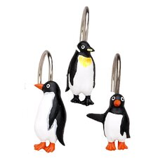 Arctic Penguin Shower Curtain Hooks (Set of 12)