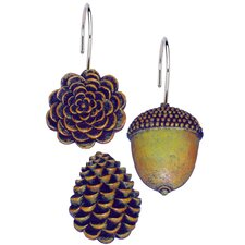 Pine Cones Shower Curtain Hooks (Set of 12)