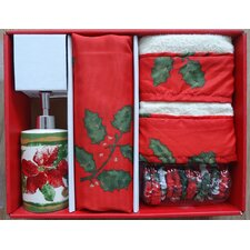 <strong>Carnation Home Fashions</strong> Christmas Floral Holiday Print 16-Piece Shower Curtain Set