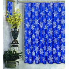 Snow Flakes Polyester Fabric Holiday Shower Curtain