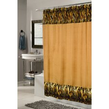 <strong>Carnation Home Fashions</strong> Animal Instincts Polyester Panthera Faux Fur Trimmed Shower Curtain
