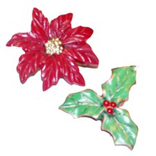 Poinsettia Resin Holiday Shower Curtain Hook (Set of 12)