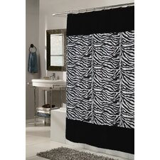 Animal Instincts Polyester Savanna Faux Fur Trimmed Shower Curtain