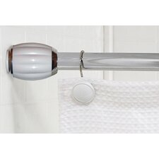 Steel Shower Curtain Tension Rod with Decorative Resin Finials
