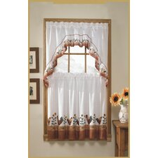 3 Piece Rooster Rod Pocket Swag Valance and Tier Set