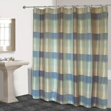 Plaid Polyester Shower Curtain