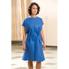 "30"" x 42"" Fabriwear® Exam Gowns Nonwoven, Attached Belt, Sewn Shoulder in Blue"