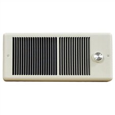 Low Profile Fan Forced Wall Electric Space Heater with Wall Box and Single Pole Thermostat