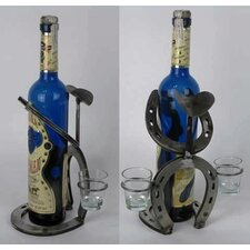 Horseshoe Bowlegged Cowboy Tabletop Wine Rack