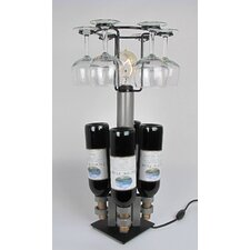 4 Bottle / 6 Stem Glass Lamp Tabletop Wine Rack