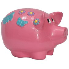 Girly Chic Double Sided Flower Power Piggy Bank
