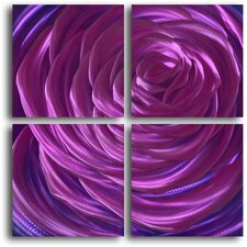 """Ensnaring Fushsia Rose"" 4 Piece Contemporary Handmade Metal Wall Art Set"