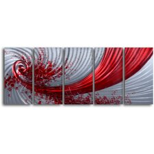 "<strong>My Art Outlet</strong> ""Razor Wind"" 5 Piece Handmade Metal Wall Art Set"