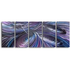 "<strong>My Art Outlet</strong> ""Tripple Cyclone"" 5 Piece Handmade Metal Wall Art Set"