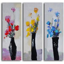 'Trio of Primary Blooms' 3 Piece Original Painting Canvas Set