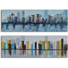 'Duo of Waterlogged City' 2 Piece Original Painting on Canvas Set
