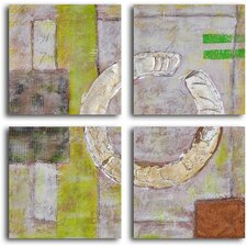 'Embossed Gold on Tiles' 4 Piece Original Painting on Canvas Set