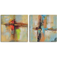 'View across Water' 2 Piece Original Painting on Canvas Set