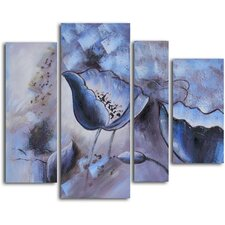 'Floral Mirage in Ice' 4 Piece Original Painting on Canvas Set