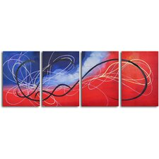 'Trail of the Hummingbird' 4 Piece Original Painting on Canvas Set