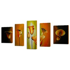 Lilies By Evening Light 5 Piece Original Painting on Canvas Set