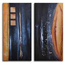 "Hand Painted ""Donkey Tail Against Earth"" 2-Piece Canvas Art Set"