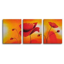 "<strong>My Art Outlet</strong> Hand Painted ""Lava Lamp Poppies"" 3-Piece Canvas Art Set"