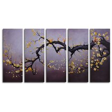 "<strong>My Art Outlet</strong> Hand Painted ""Japanese Branch Charcoal Sky"" 5-Piece Canvas Art Set"