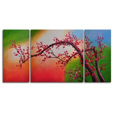 "<strong>My Art Outlet</strong> Hand Painted ""Cherry Blossom, Colored Aurora"" 3-Piece Canvas Art Set"